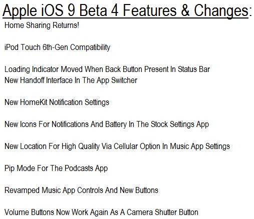 Apple iOS 9 Beta 4 Features
