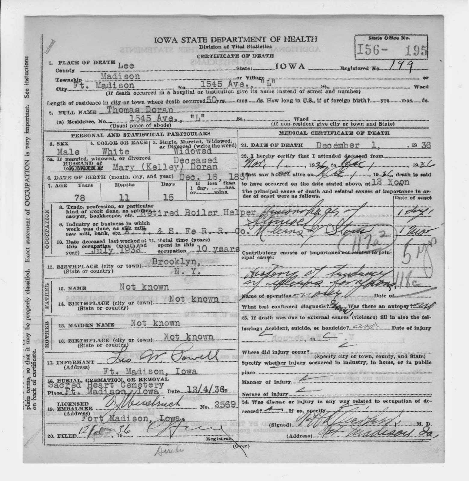 Matts genealogy blog web searches and iowa death certificates thomas dorans death certificate this tells us that his birth date was december 16 1857 and his place of birth was brooklyn new york aiddatafo Images