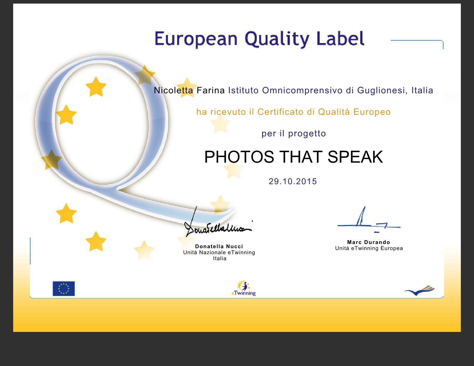 European Quality Label to our School