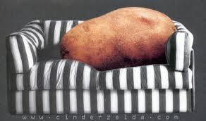 Couch potato: una patata en el sofá. Original expresión.