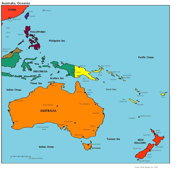 Австралия и Океания - политическая карта. Маршруты. Картографические инст