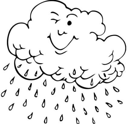 Nubes con lluvia para colorear - Imagui