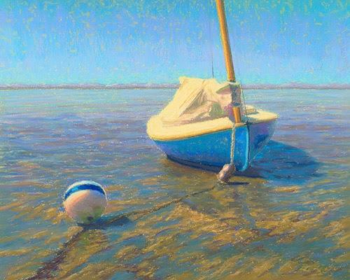 Pastel Painting Cape Cod Cat Boat Low Tide Pastel