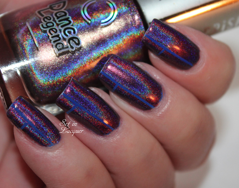 Holographic geometric nail art using nail art tape
