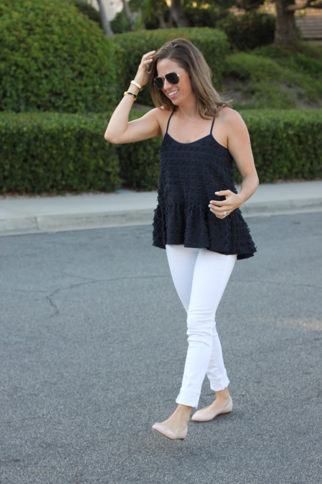 navy and white street style