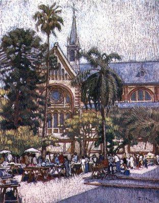 Iglesia de Caacupé en el barrio de Caballito enfrente al Parque Rivadavia. Feria artesanal del domingo