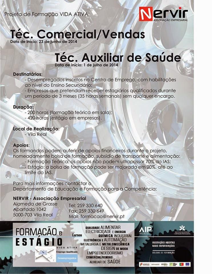 Cursos remunerados em Vila Real (Formação VIDA ATIVA para Desempregados/as)