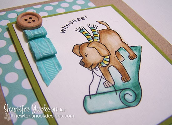 Sledding Puppy Card using Snow Day Stamp set from Newton's Nook Designs!