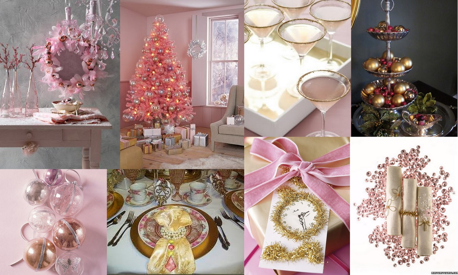 pink gold christmas inspirations - Pink And Gold Christmas Decorations