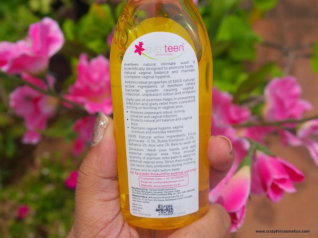 everteen natural intimate wash ingredients