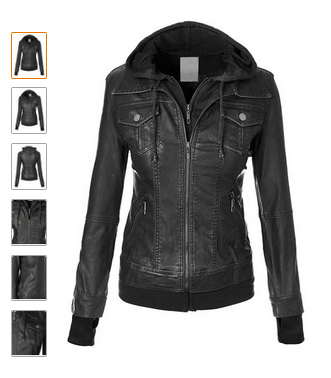 Images of Black Leather Jacket With Hood Womens - Reikian