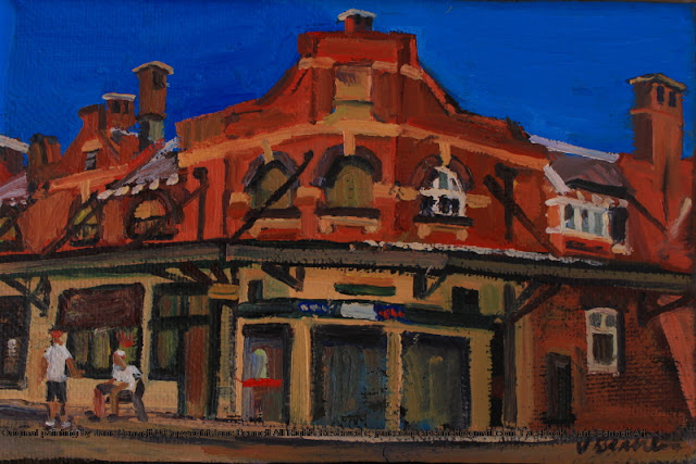 plein air oil painting of old shop in Argyle Place Millers Point by industrial heritage artist Jane Bennett