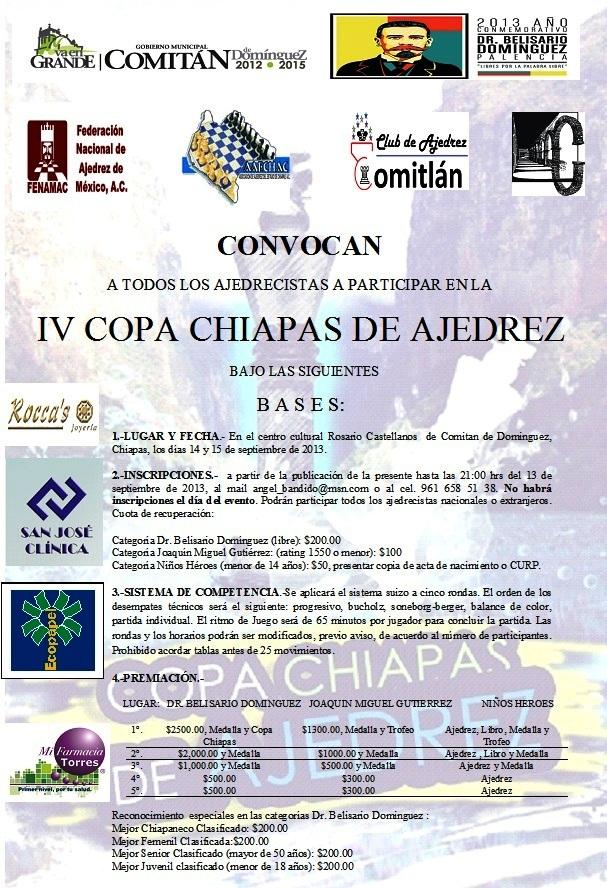 IV Copa Chiapas de Ajedrez, Chiapas