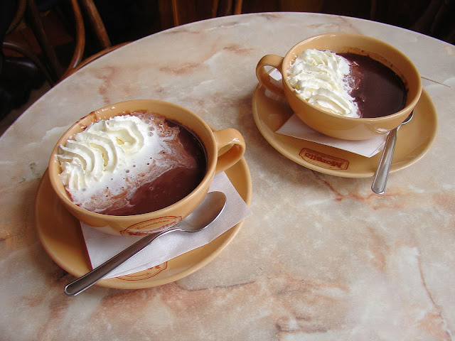 How's that for a cup of hot chocolate? Only at Maximilian in Bratislava.