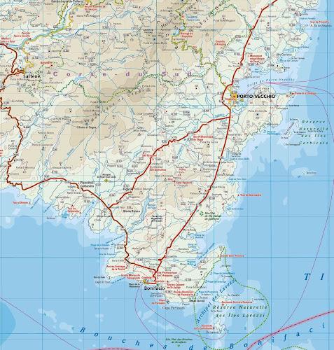 Mapa rodoviário do Sul da Ilha de Córsega