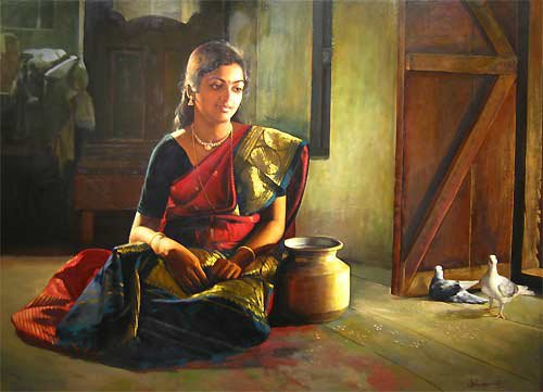 Paintings of classical young women of tamil nadu india - Beautiful woman painting hd ...