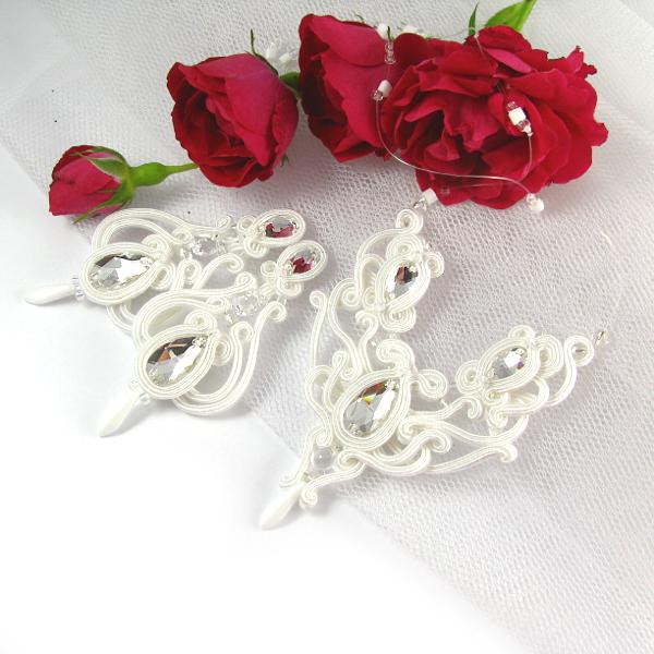 kolczyki i naszyjnik ślubny sutasz ażurowy