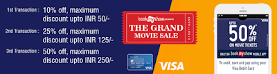 Get 10%, 25% and 50 % Discounts on Movie Booking via Bookmyshow.com - MyTricksTime.com offer image
