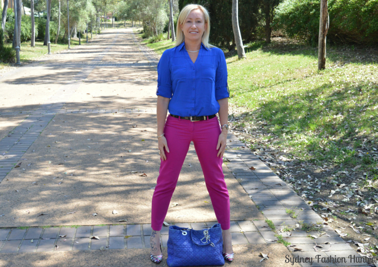 Sydney Fashion Hunter - Fresh Fashion Forum #3 - Be Bold - Hot Pink Pants + Cobalt Shirt