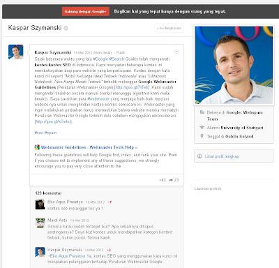 statemen google tentang kontes SEO di Indonesia
