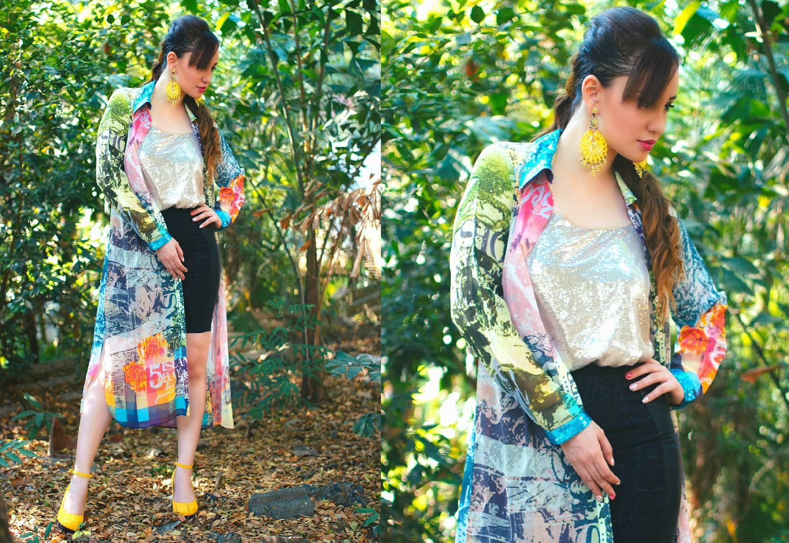 Printed Cape, Sequin Top, Black Skirt & Yellow Wedges