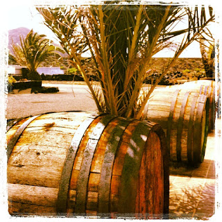 Barrels outside the Bodega Barreto in Lanzarote