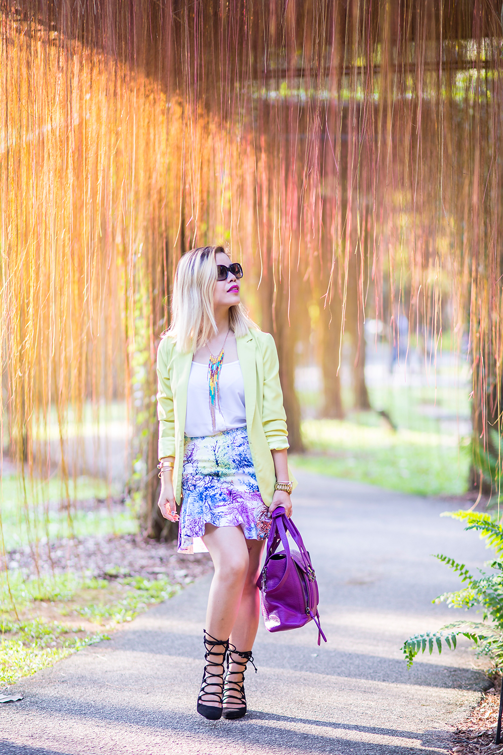 Crystal Phuong- Singapore Fashion Blog- Streetstyle with lace up heels, blazer and flare skirt