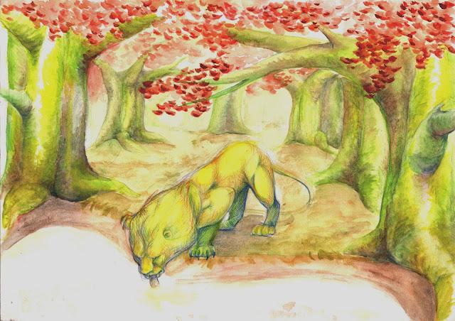 manu lafay le lion et la souris décor aquarelle crayon jour