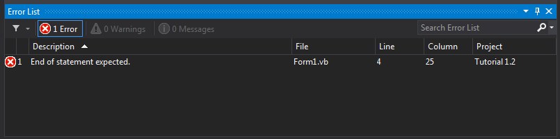 Kotak Daftar Kesalahan (Error List)