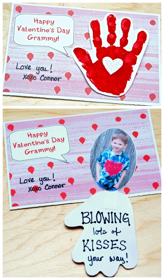 Handprint Valentine S Day Card Blowing Kiss Your Way