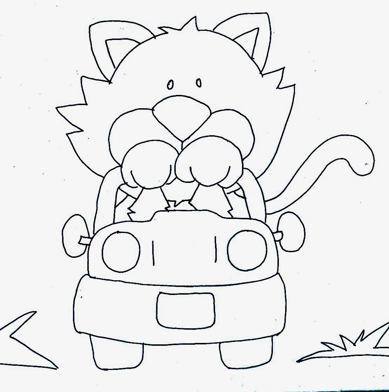 desenho de gatinho dirigindo para pintar
