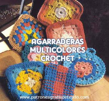 Agarraderas crochet multicolores con patrones