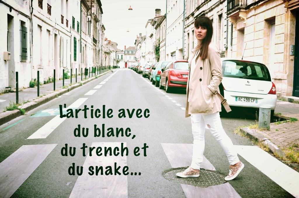 L'article avec du blanc , du beige et du snake ..