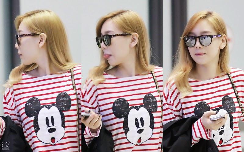 ミッキーTシャツを着た空港の少女時代テヨンのコマ撮り画像