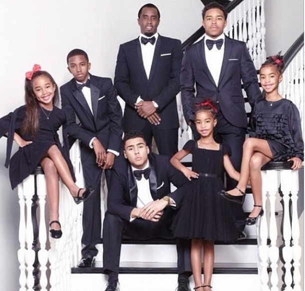 His Baby Mommas Opted To Sit Out Of Shot While The Rapper And Children Posed At Bottom A Winding Black White Staircase