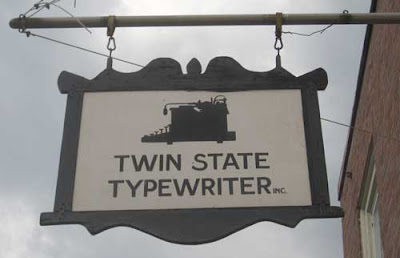 Twin State Typewriter repair sign