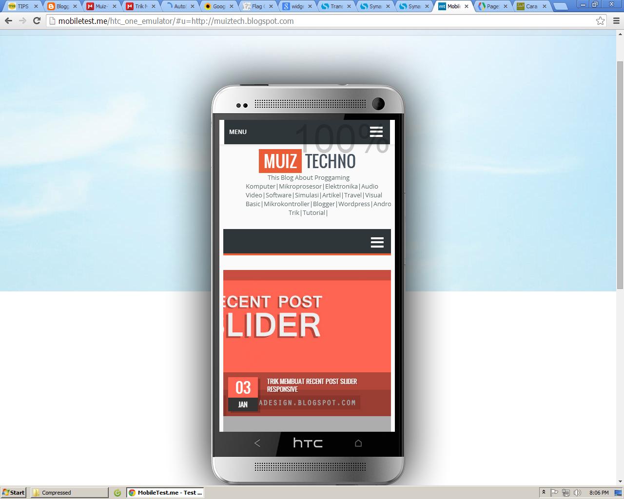 Melihat blog versi mobile di PC dengan beberapa vendor smartphone
