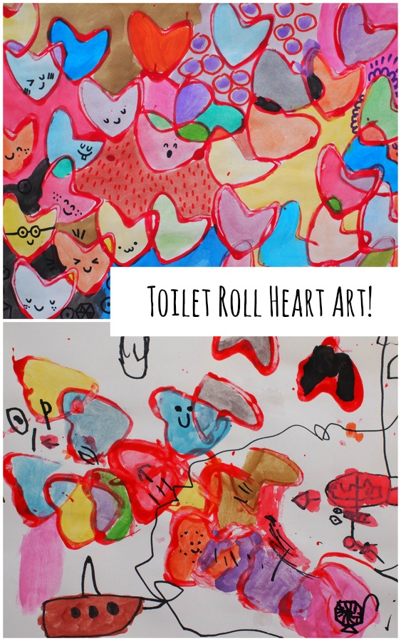 Toilet Roll Stamped Heart Art - Fun Valentine's art project to do with the kiddos