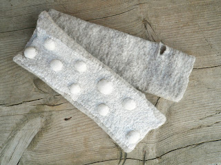 fingerless gloves, nuno felted, polka dot, eco fashion