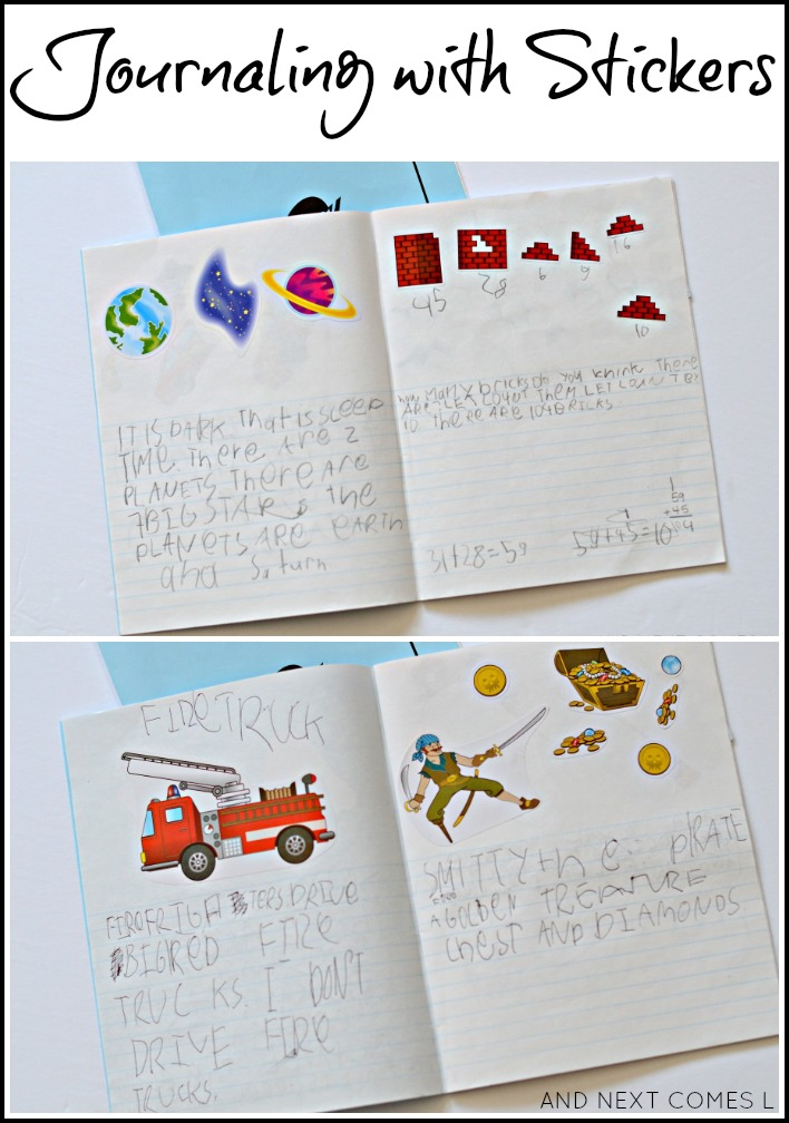 Journaling for kids using stickers and why it's a good method for kids with hyperlexia from And Next Comes L