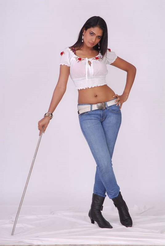 Ramya in White Transparent Short Top and Skin Tight Jeans with Back Boots