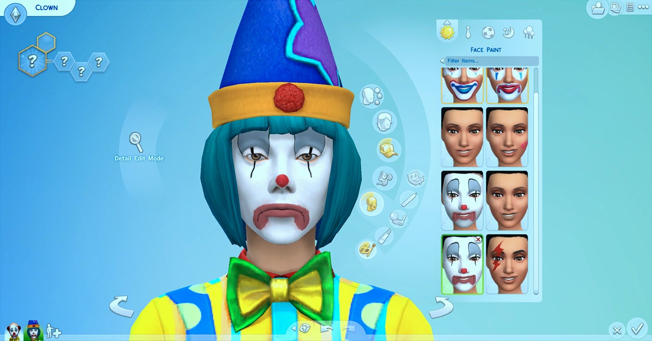 My Sims 4 Blog TS1 Tragic Clown Sim Hair Makeup Outfit