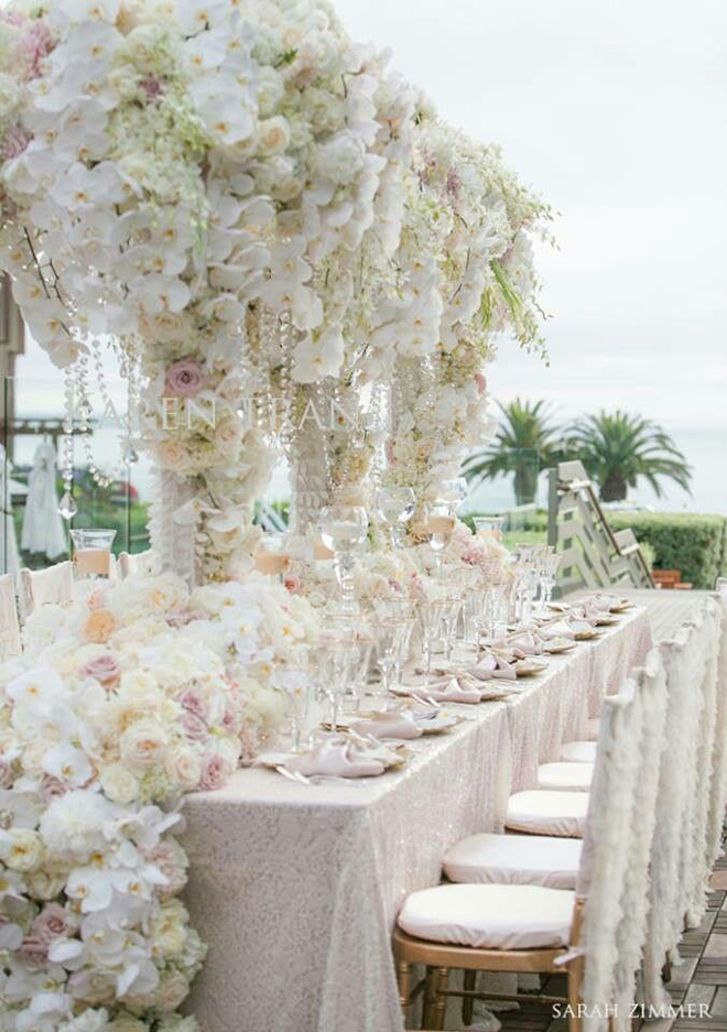 Wedding reception decoration long tables the wedding blog for Long table centerpieces