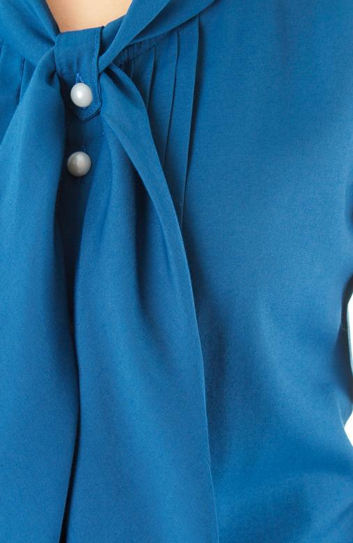 Crissy Cross Sash Blouse – Sapphire Blue