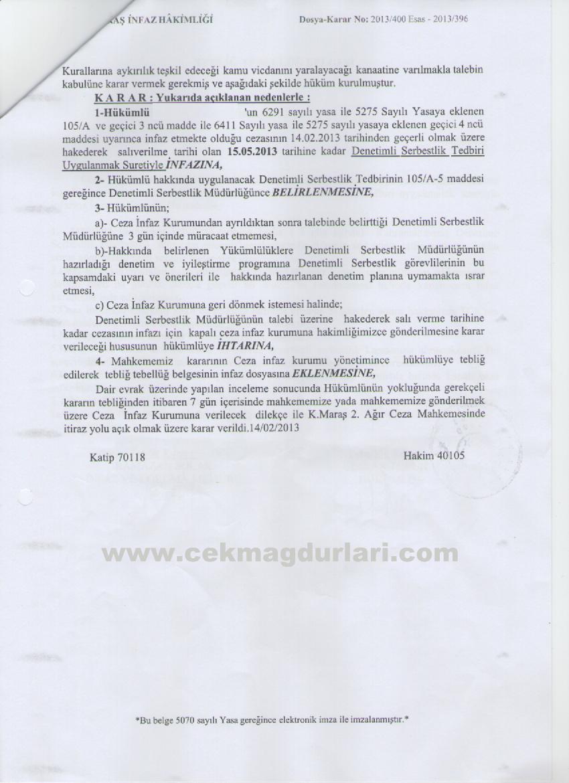 Kahramanmaraş infaz hakimi Abdullah Özer, tazyik hapisleri denetimli serbestlik kararı