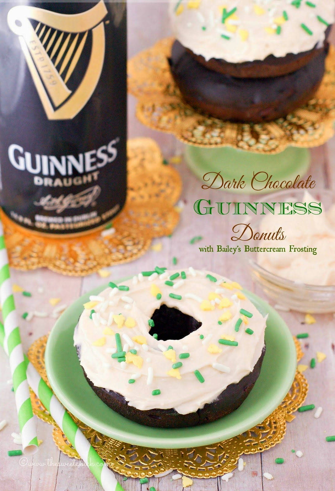 Dark Chocolate Guinness Donuts @www.thesweetchick.com
