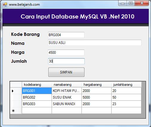 Tutorial VB 2010 MySQL | Cara Input Database MySQL VB 2010 | Tutorial VB 2010 MySQL