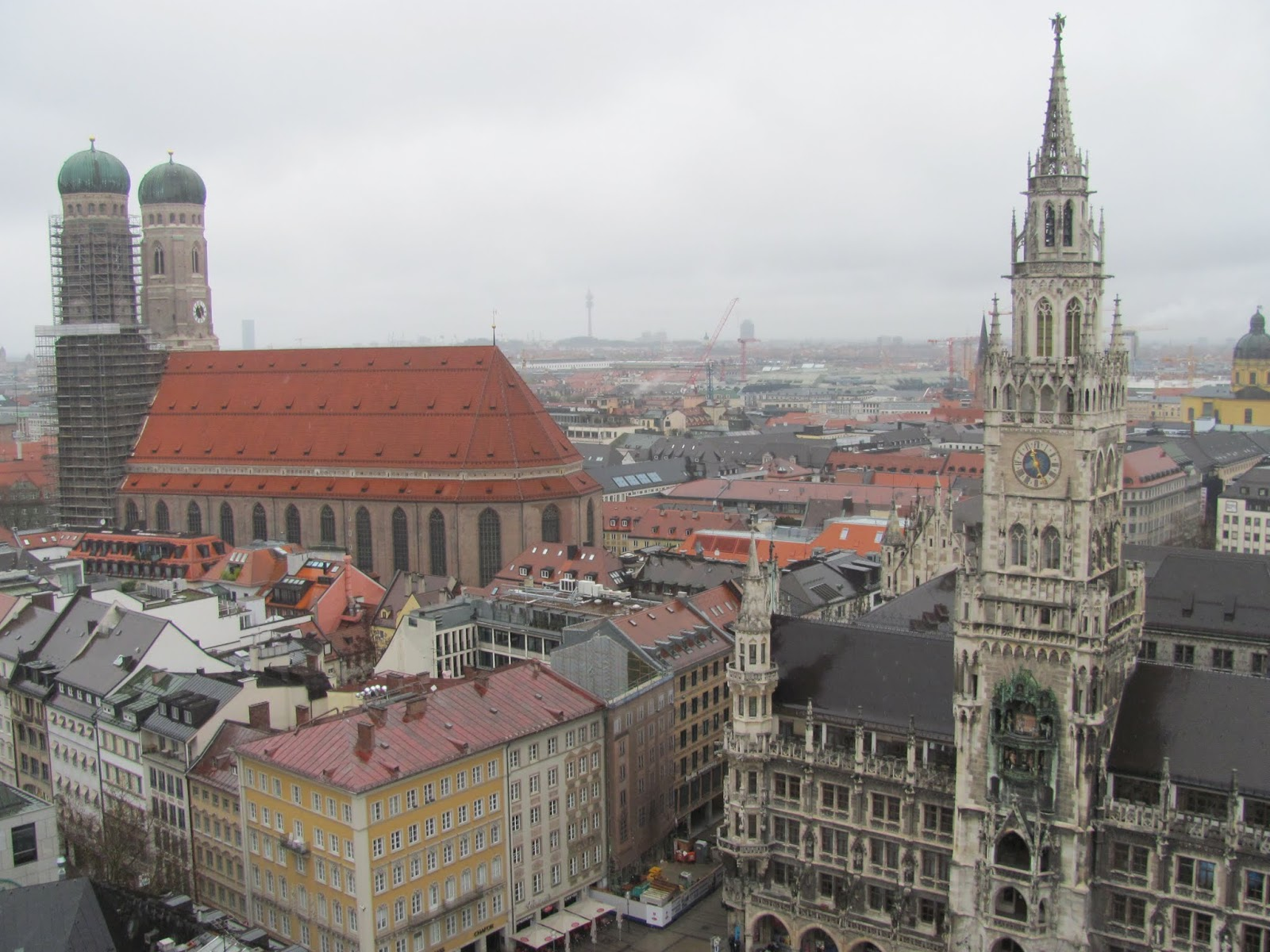 Frauenkirch (left), New Town Hall (right) seen from St. Peter's Church tower Munich, Germany