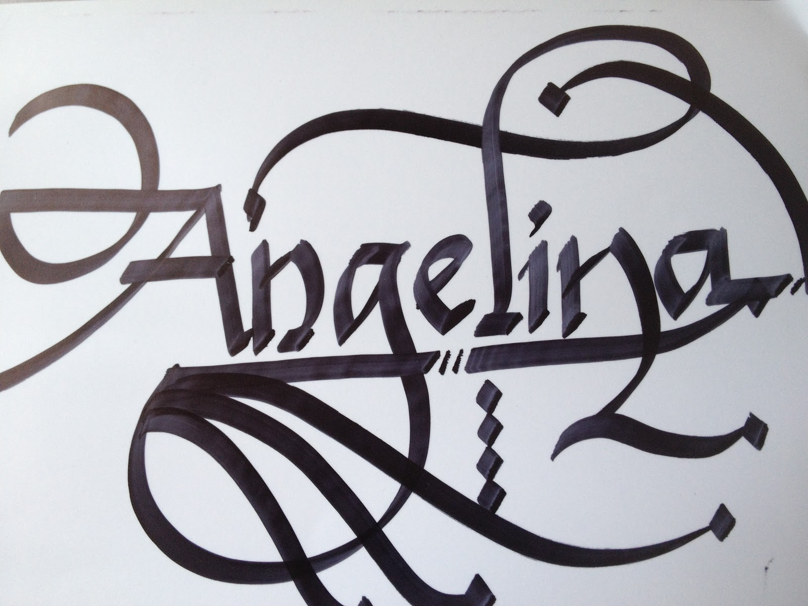 Calligraphy art girl names in angelina