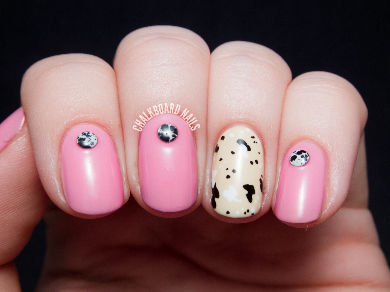 Pink Manicure with Splattered Studs